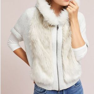 Anthro Sleep In Snow Fur Sweater Jacket Dolman S